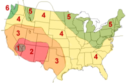 A map dividing the United States into irregular sections.